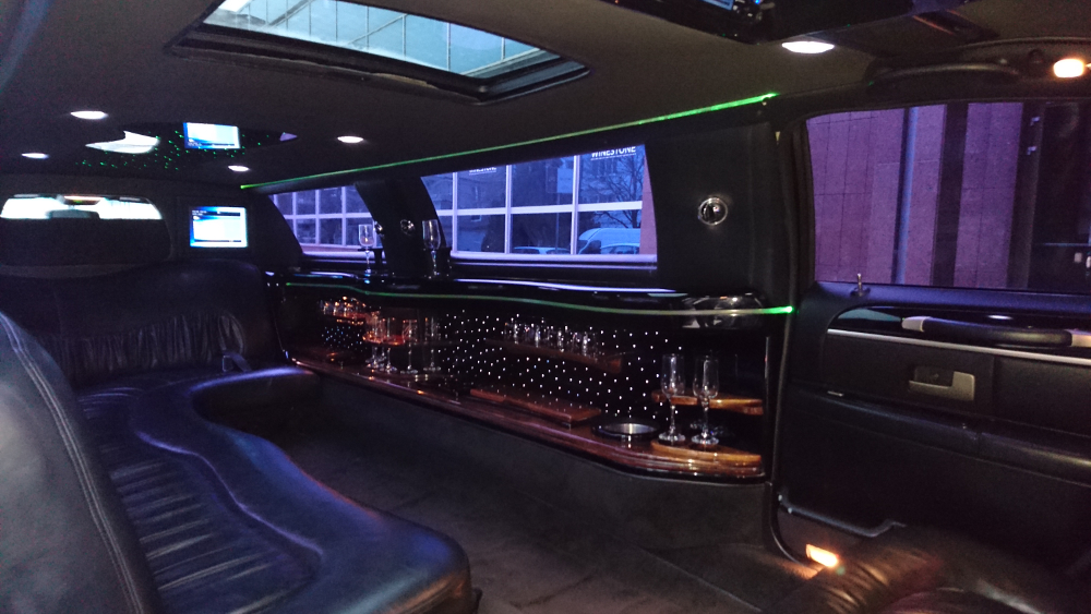 "Black Lincoln 120""                   stretch limouisne hire Gdansk Sopot interior"